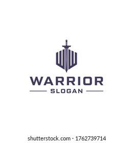Letter w combine with sword logo design. Warrior concept logo design.