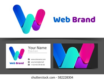 letter W Corporate Logo and business card sign template. Creative design with colorful logotype business visual identity composition made of multicolored element. Vector illustration.