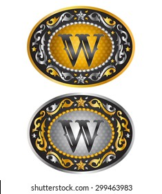 Letter W - Cowboy belt buckle - Alphabet initial vector design