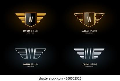 Letter W crest logo. Alphabet logotype vector design.