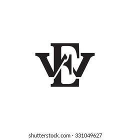 letter W and E monogram logo