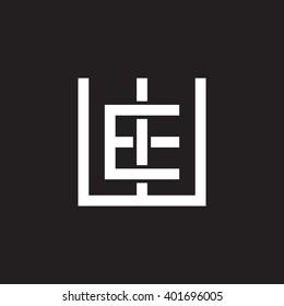 letter W and E monogram square shape logo white black background