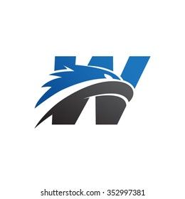 letter w eagle head logo blue