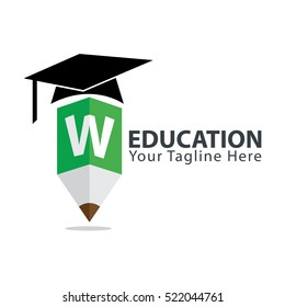 Letter W Education logo concept with pencil and book icon. Design template for education purposes