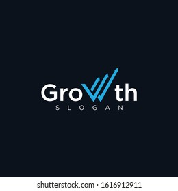 Letter W Growth Logo . Chart logo Design.  Business Consulting Logo Design template .