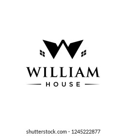 letter W with house logo concept