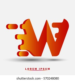 Letter W icon and logo template. Elegant typographic design. Spread the font. brown and yellow