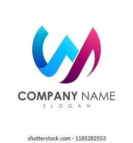 letter W initial letter logo design