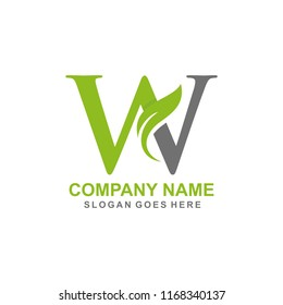Letter W leaf initial logo template