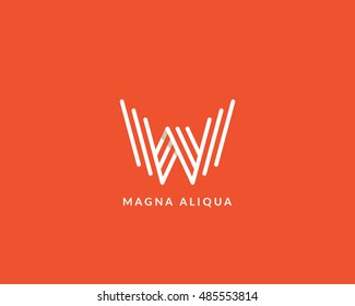 "Letter ""W"" line art monogram. Creative logo design. Eps10 vector illustration."
