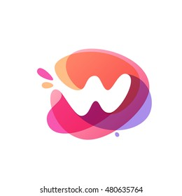 Letter W logo at colorful watercolor splash background. Vector elements for posters, t-shirts and cards.