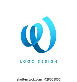 "Letter ""W"" logo design. Blue ribbon."