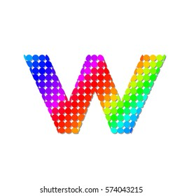 Letter W Logo Design Concept in Colorful Dots Pattern Fill