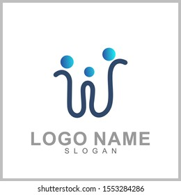 Letter W Logo Design With People Shape. Logo Concept Of Initial Letter Combination With Human Icon. Unique Lettermark Symbol