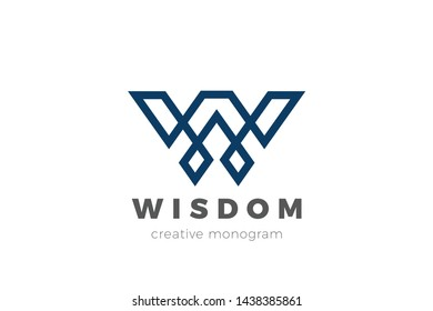 Letter W Logo design vector template. Elegant Luxury Fashion Cosmetics Logotype Linear Geometric style.