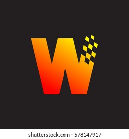 Letter W logo, fast speed, moving, delivery, Digital and Technology for your Corporate identity
