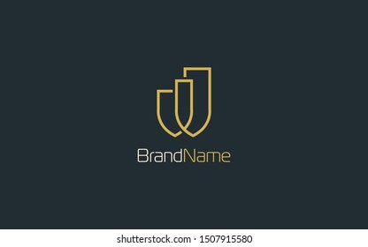 Letter w logo formed with simple line in gold color