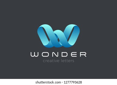 Letter W Logo Ribbon design vector template Infinite Looped shape. Creative Typography Font Monogram Logotype concept icon.