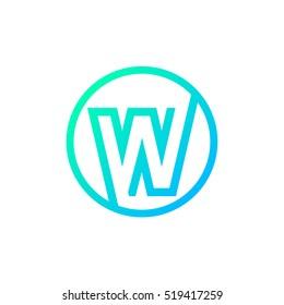 Letter W logo,Circle shape symbol,Digital,Technology,Media