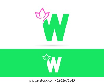 Letter W lotus logo design. Vector combination of flower and letter