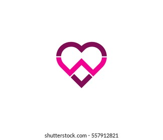 Letter W Love Logo Design Element