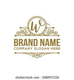 Letter w Luxury Logo template flourishes calligraphic elegant ornament line art vector illustration