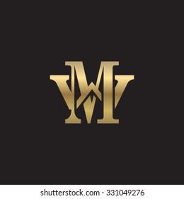 letter W and M monogram golden logo