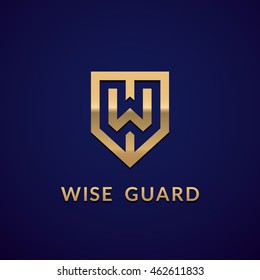 "Letter ""W"" monogram and shield sign combination. Line art logo design. Symbolizes reliability, safety, power, security. Eps10 vector luxury logotype."
