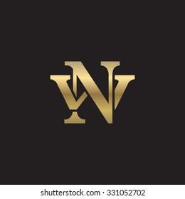 letter W and N monogram golden logo
