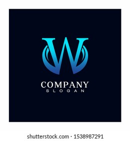 letter W Oval Circle Logo Design Vector Icon