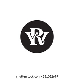 letter W and R monogram circle logo