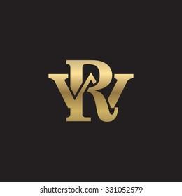 letter W and R monogram golden logo