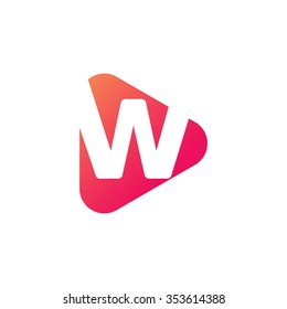 letter w rounded triangle shape icon logo orange red