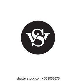 letter W and S monogram circle logo