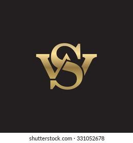 letter W and S monogram golden logo