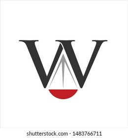 letter W and scale law. Vector Icon and Logo.