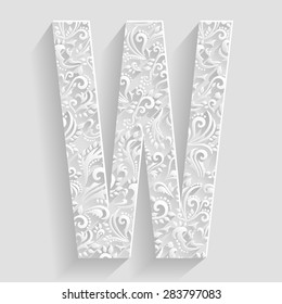 Letter W. Vector Floral Invitation cards Decorative Font