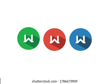 Letter W Vector Logo Design, Combined With Circle, Long Shadow Design Style.Trendy App Icons Set.