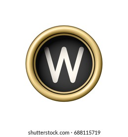 Letter W. Vintage golden typewriter button isolated on white background. Graphic design element for scrapbooking, sticker, web site, symbol, icon. Vector illustration.