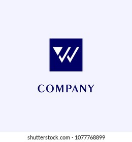 Letter W or VV or VW Logo Design Template, Blue Box, Gray Background, Rectangle Square Logo Concept, Simple and Clean, Strong & Bold, White Lettermark