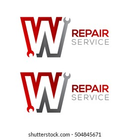Letter W with wrench logo,Industrial,repair,tools,service and maintenance logo for corporate identity