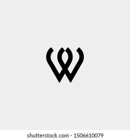 Letter W WW M MM Monogram Logo Design Minimal Icon