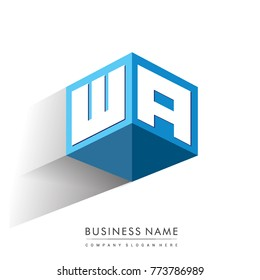 Letter WA logo in hexagon shape and blue background, cube logo with letter design for company identity.