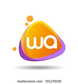 Letter WA logo in triangle splash and colorful background, letter combination logo design for creative industry, web, business and company.