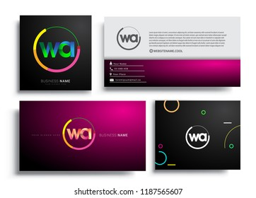 Letter WA logotype with colorful circle, letter combination logo design with ring, sets of business card for company identity, creative industry, web, isolated on white background.
