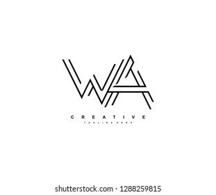 Letter WA Monoline Linear Minimalism Modern Type Logo