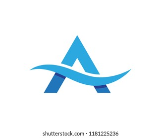A Letter Water wave icon vector illustration design