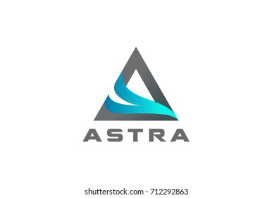 Letter A Wave Flame Logo design vector template. Corporate stylish Triangle Pyramid shape Logotype concept icon.