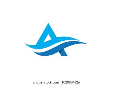 A letter wave Logo Template vector illustration