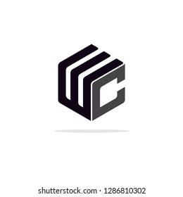 letter WC hexagon line logo Design vector